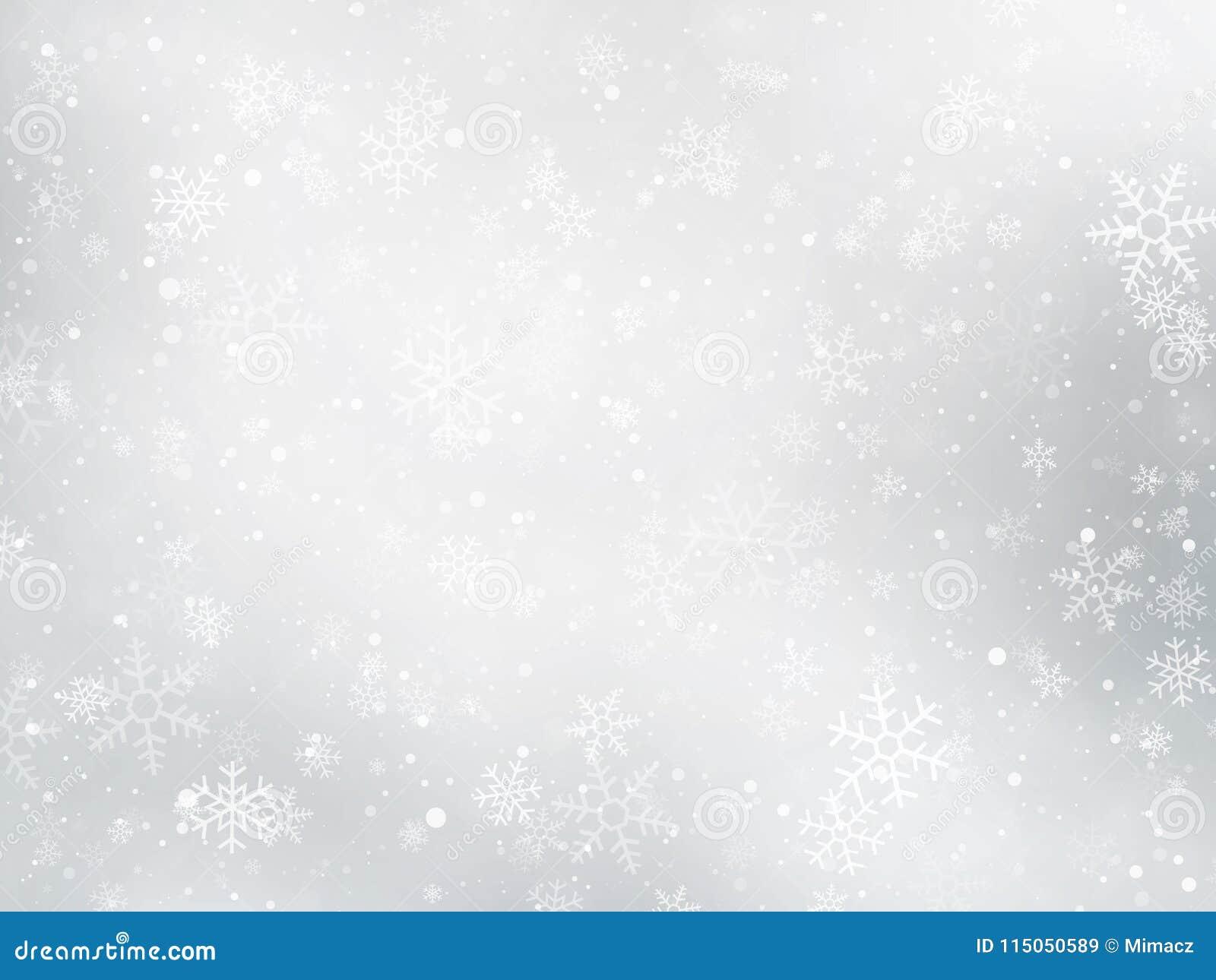 Silberner Winter Weihnachtshintergrund mit Schneeflocken
