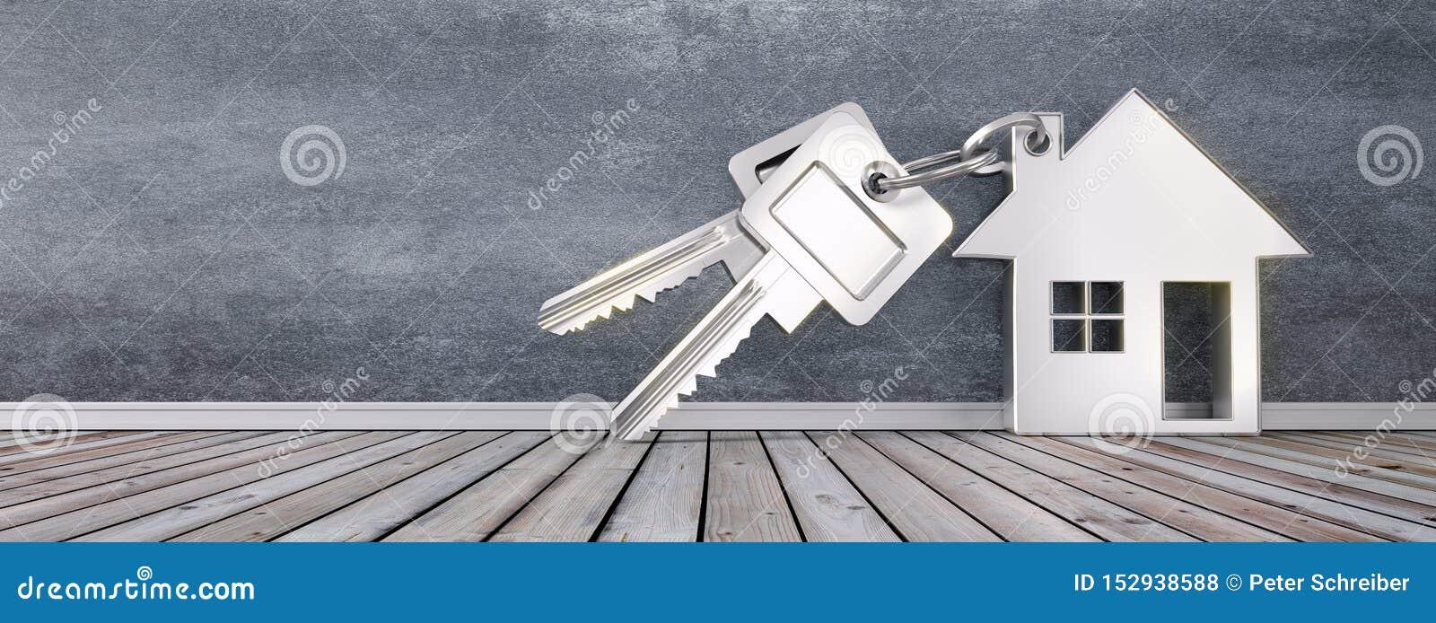 Silbernes Schlüsselanhängerhaus mit silbernen Schlüsseln