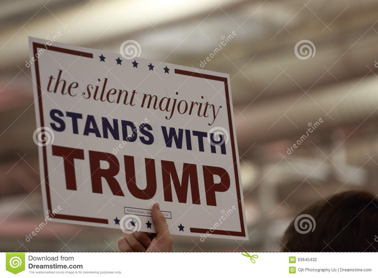 The Silent Majority stands with Trump sign