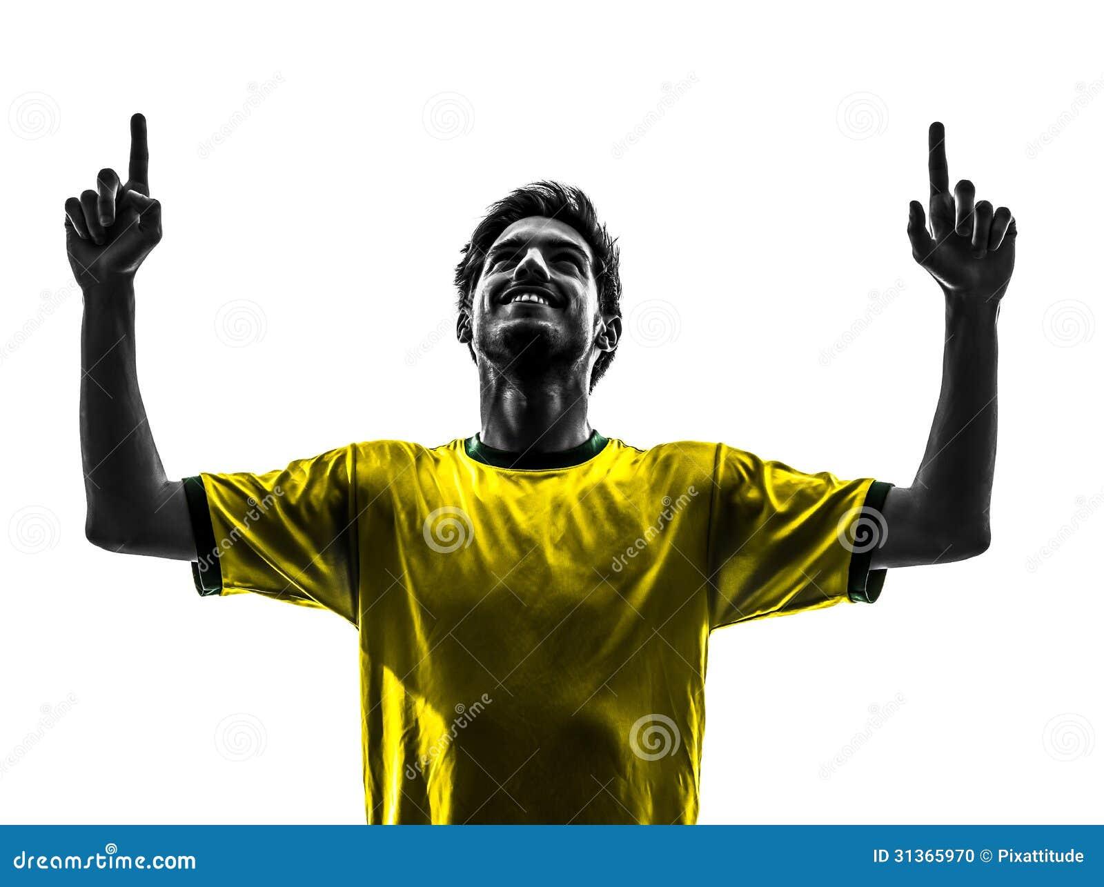 Silhoue человека утехи счастья бразильского футболиста футбола молодое