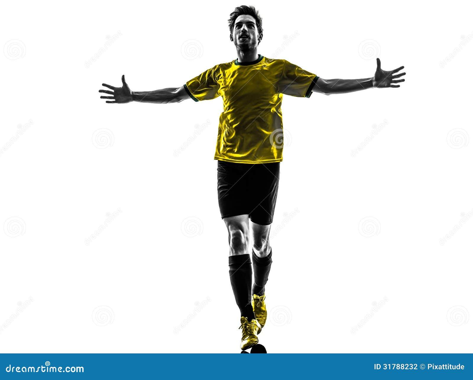 Silhoue brésilien d homme de joie de bonheur de joueur de football du football jeune