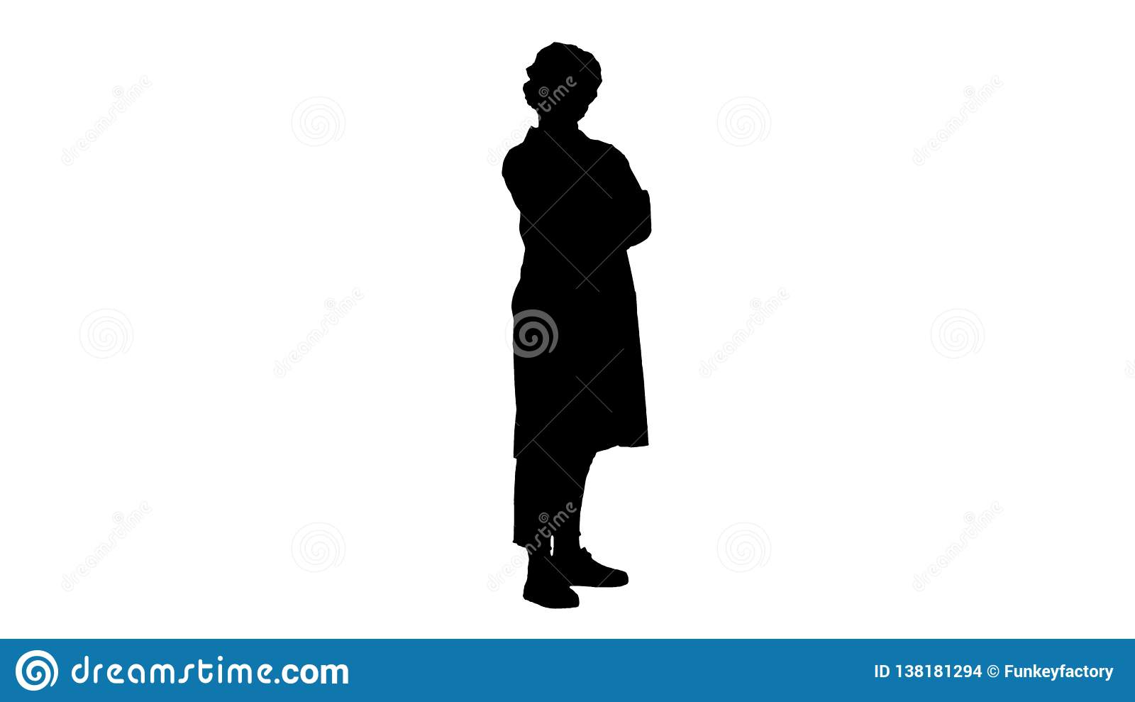 Silhouet die zekere jonge vrouw arts status met over gekruiste wapens glimlachen