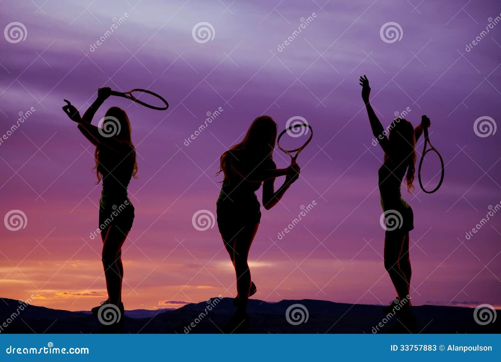 Silhouet drie van het vrouwentennis