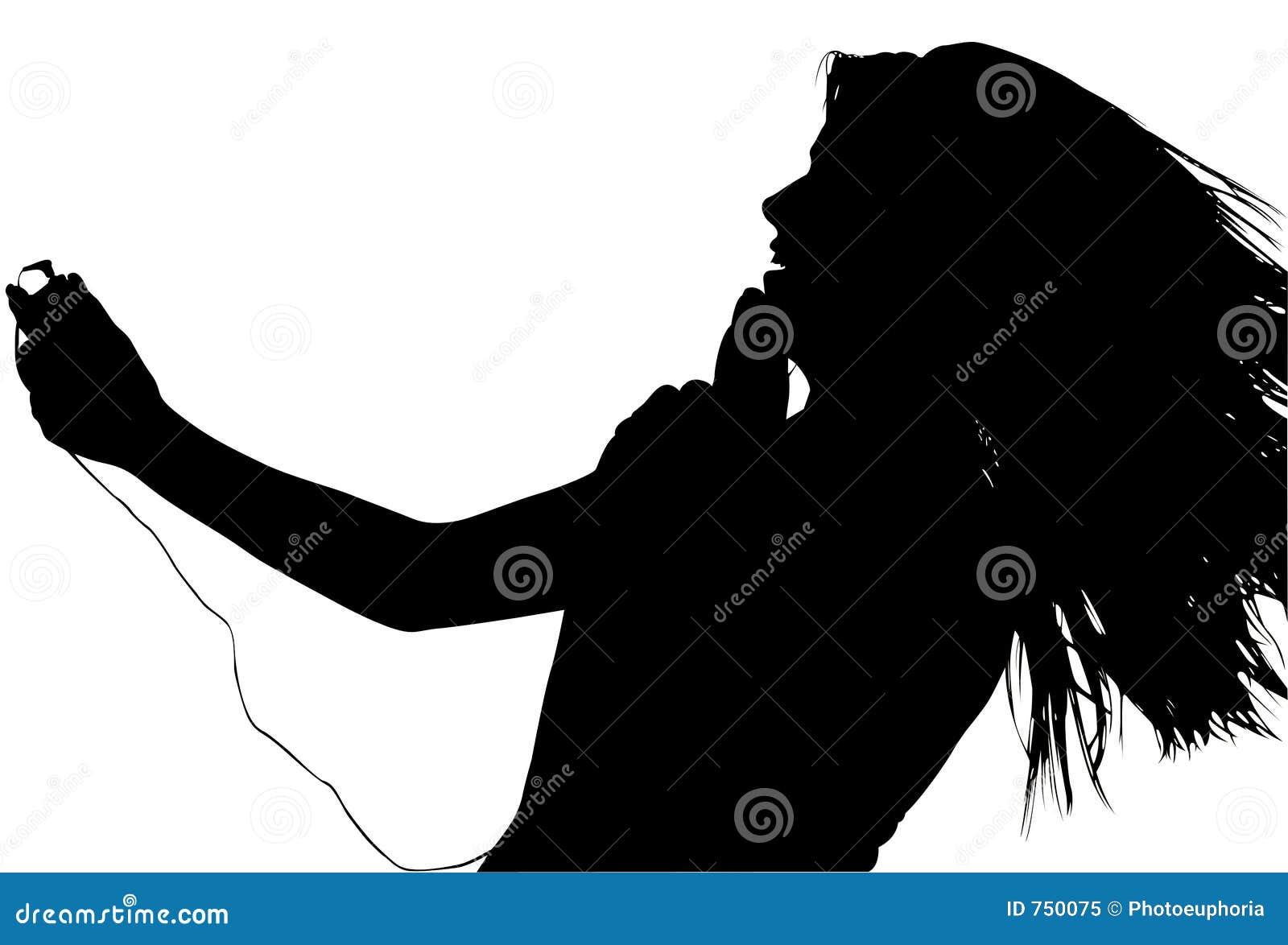 Silhouet met het Knippen van Weg van Tiener met de Digitale Speler van de Muziek