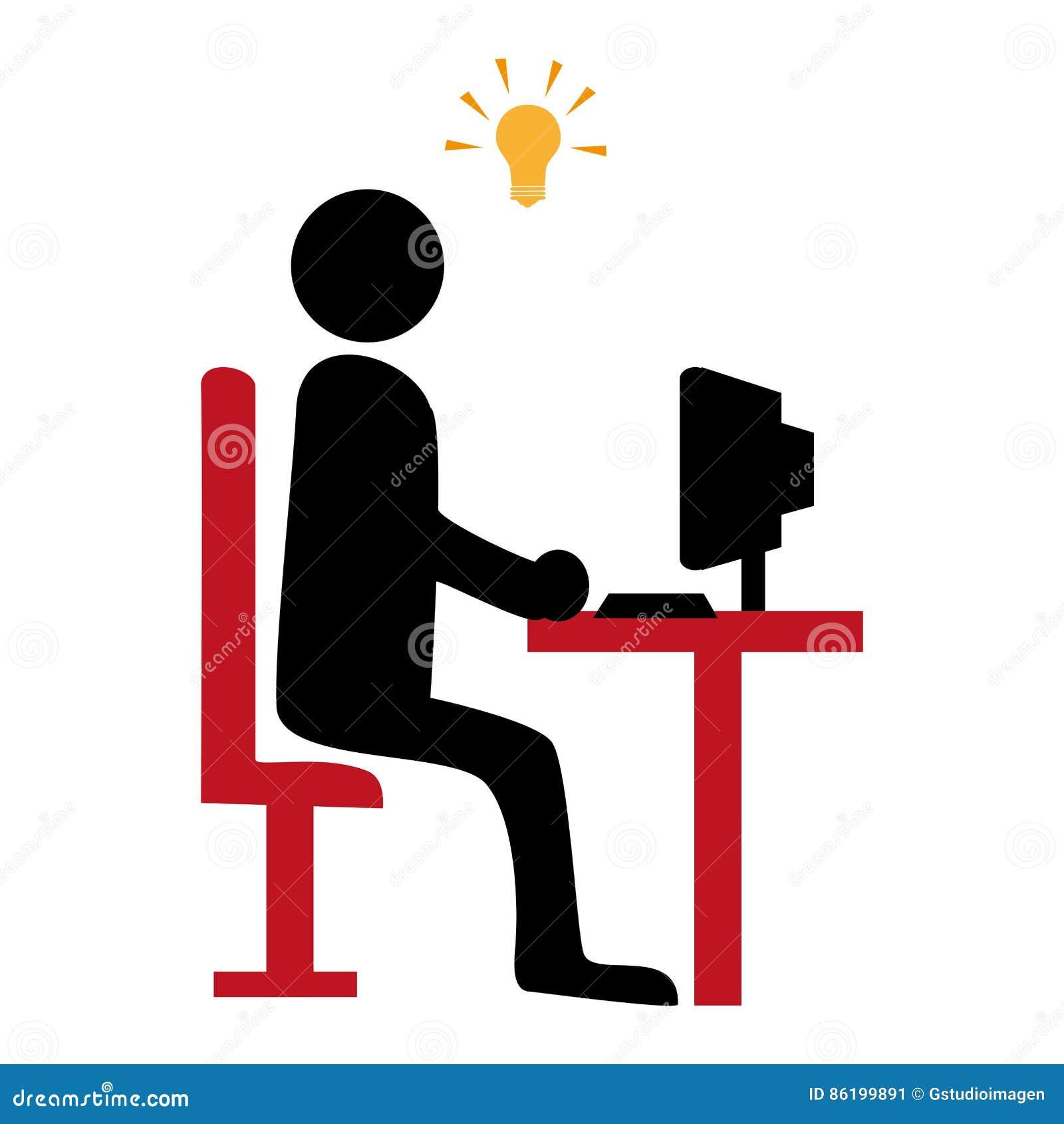 Silhouet Met Manager In Bureau En Het Pictogram Van De Idee ...