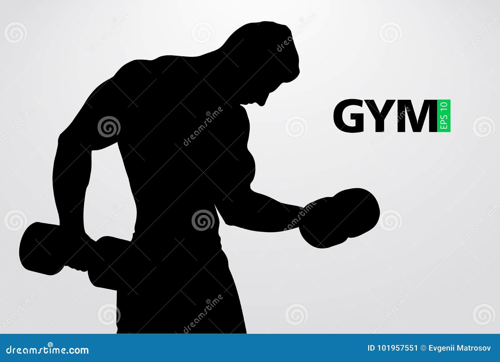 Silhouet van een bodybuilder De vector van het gymnastiekembleem Vector illustratie