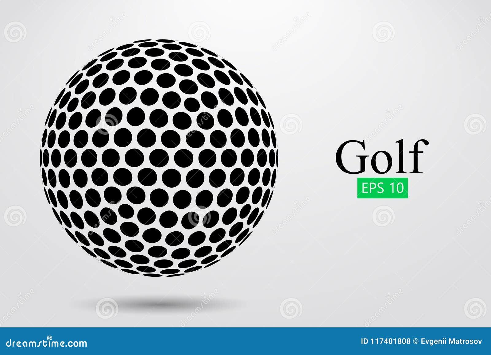 Silhouet van een golfbal Vector illustratie