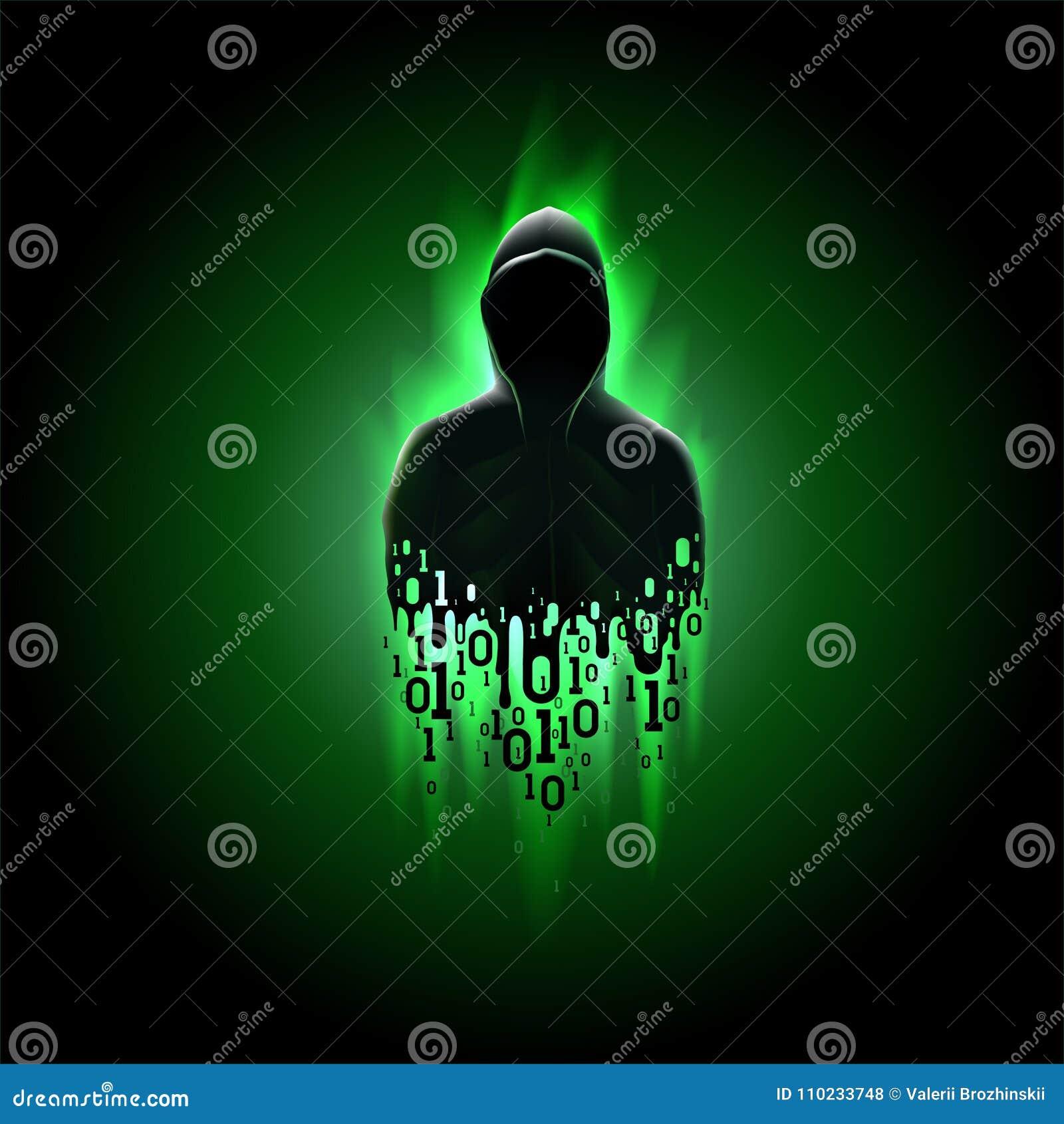 Silhouet van een hakker met binaire code inzake een groene achtergrond, het binnendringen in een beveiligd computersysteem van ee