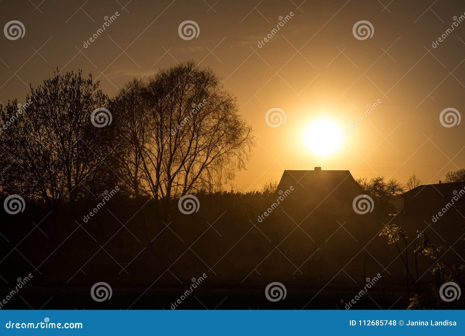 Silhouet van een huis en bomen dichtbij lege weg met stof in cou