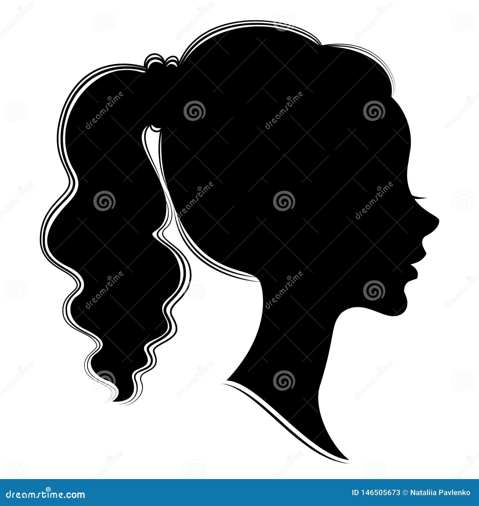 Silhouet van een profiel van een zoet dames hoofd Een meisje toont een vrouwelijk staart-kapsel op lang en middelgroot haar Gesch