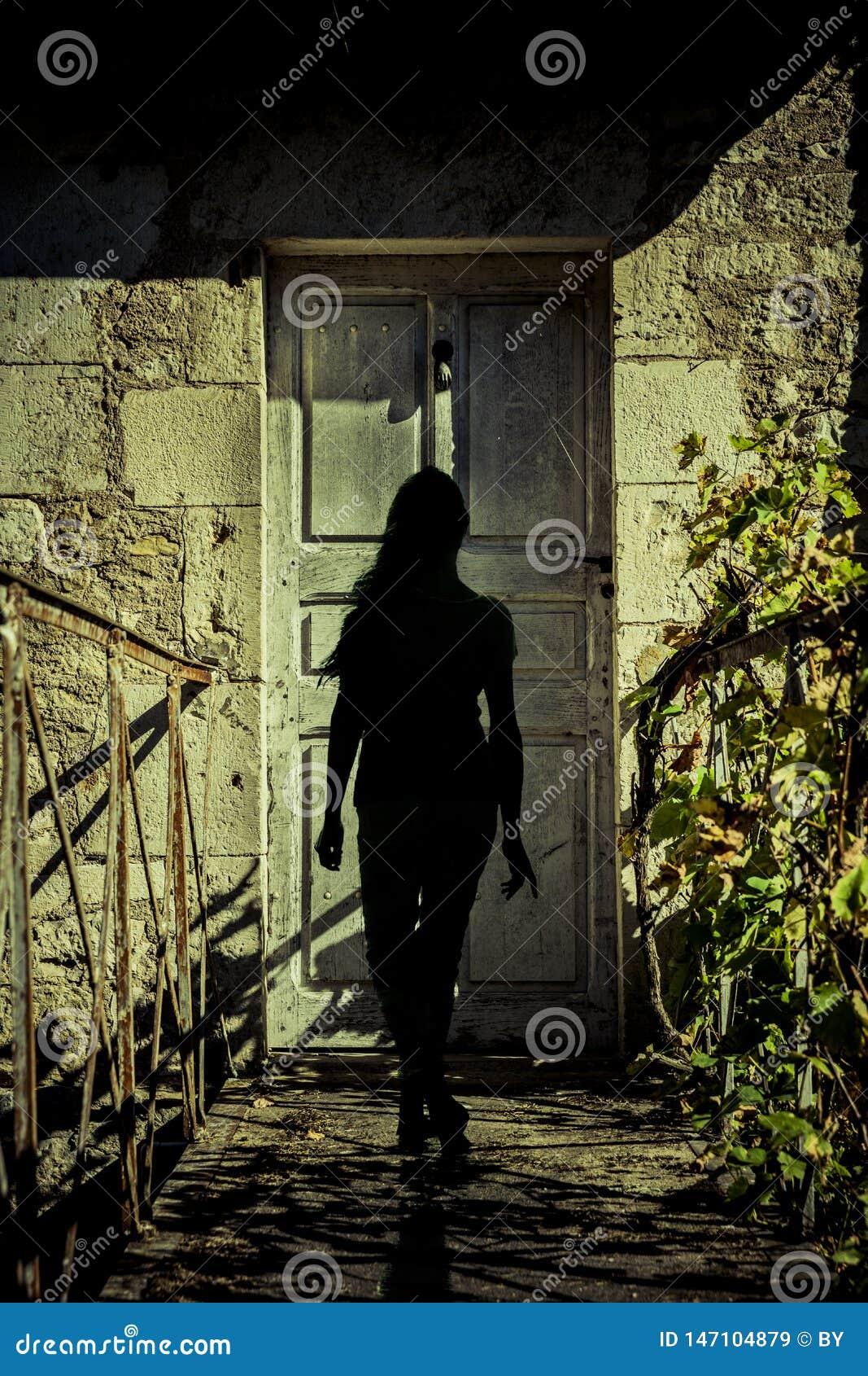 Silhouet van een Vrouw bij een deur