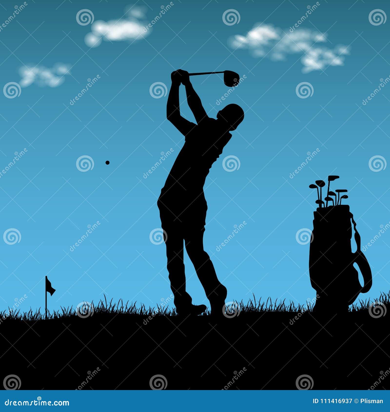 Silhouet van golfspeler met zak op speelplaats
