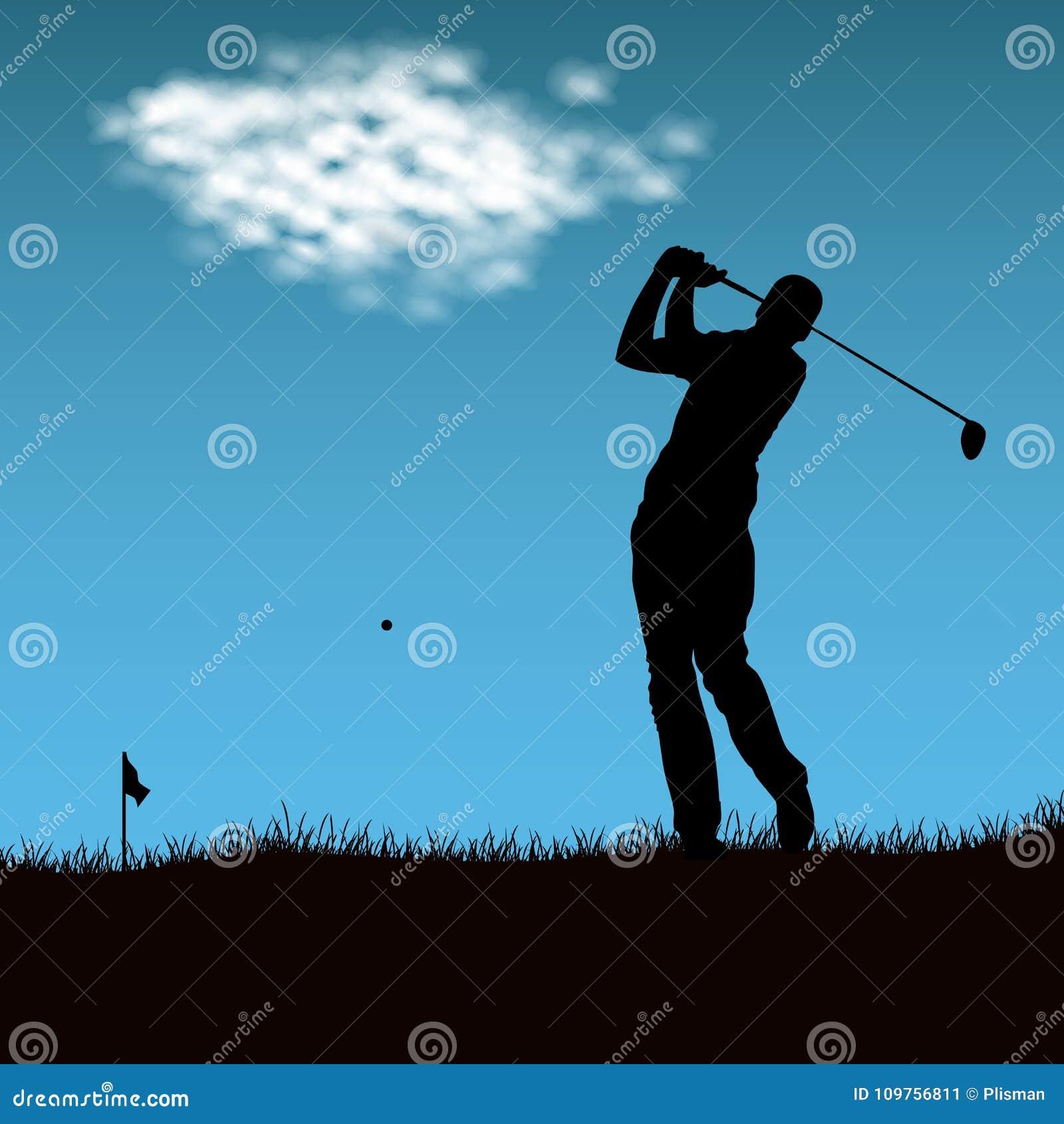 Silhouet van golfspeler na het in brand steken van bal