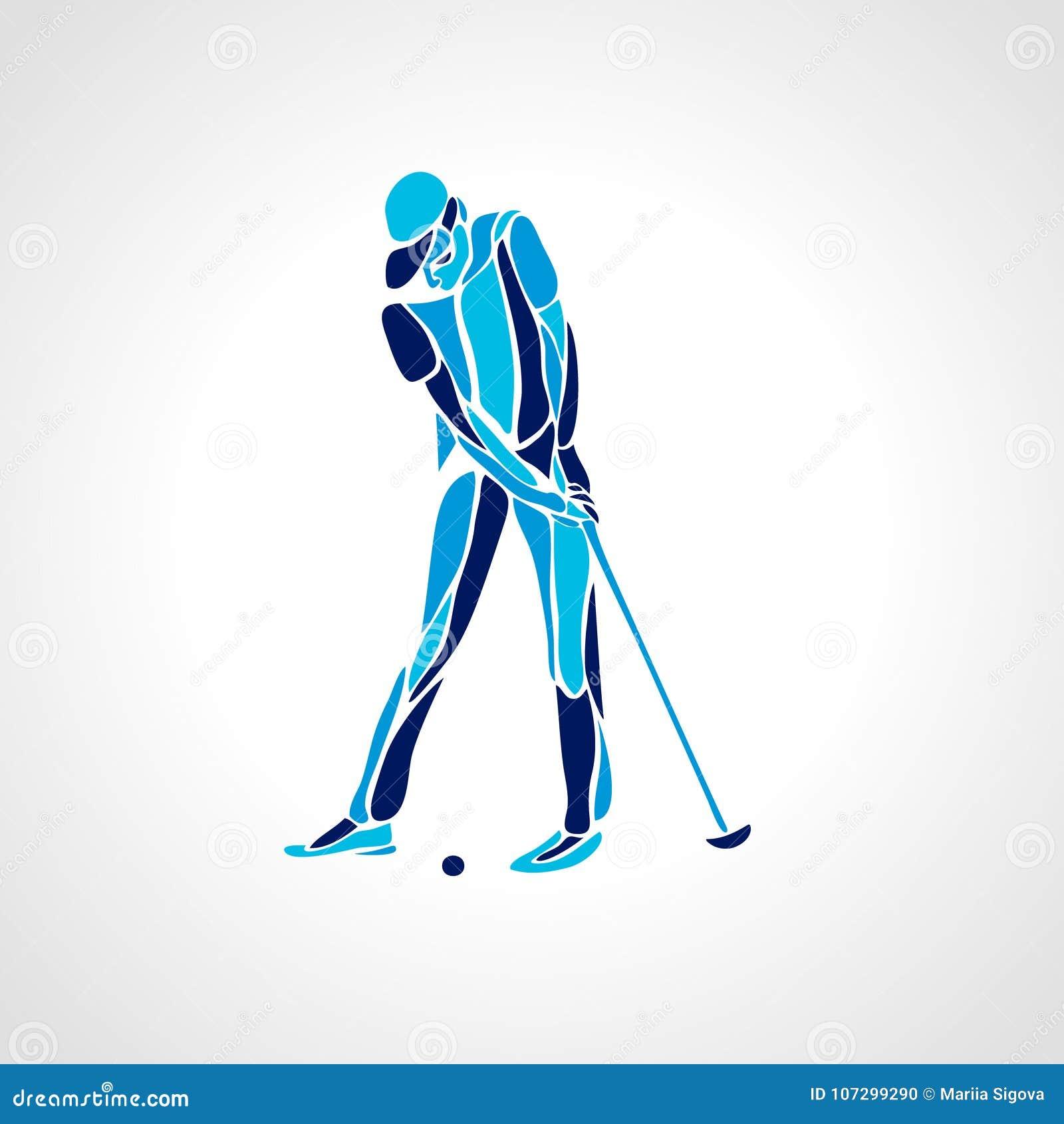 Silhouet van golfspeler Naadloos hoog gedetailleerd sneeuwvlokkenpatroon