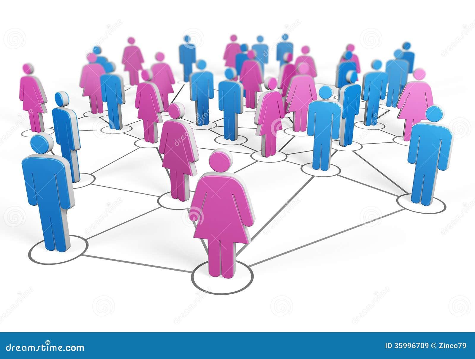 Silhouet van groep mannen en vrouwen die samen door draden worden verbonden