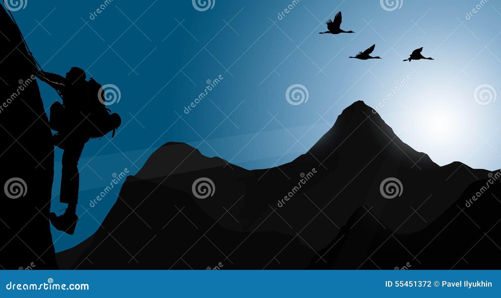 Silhouet van het beklimmen van jonge volwassene bij de bovenkant van top