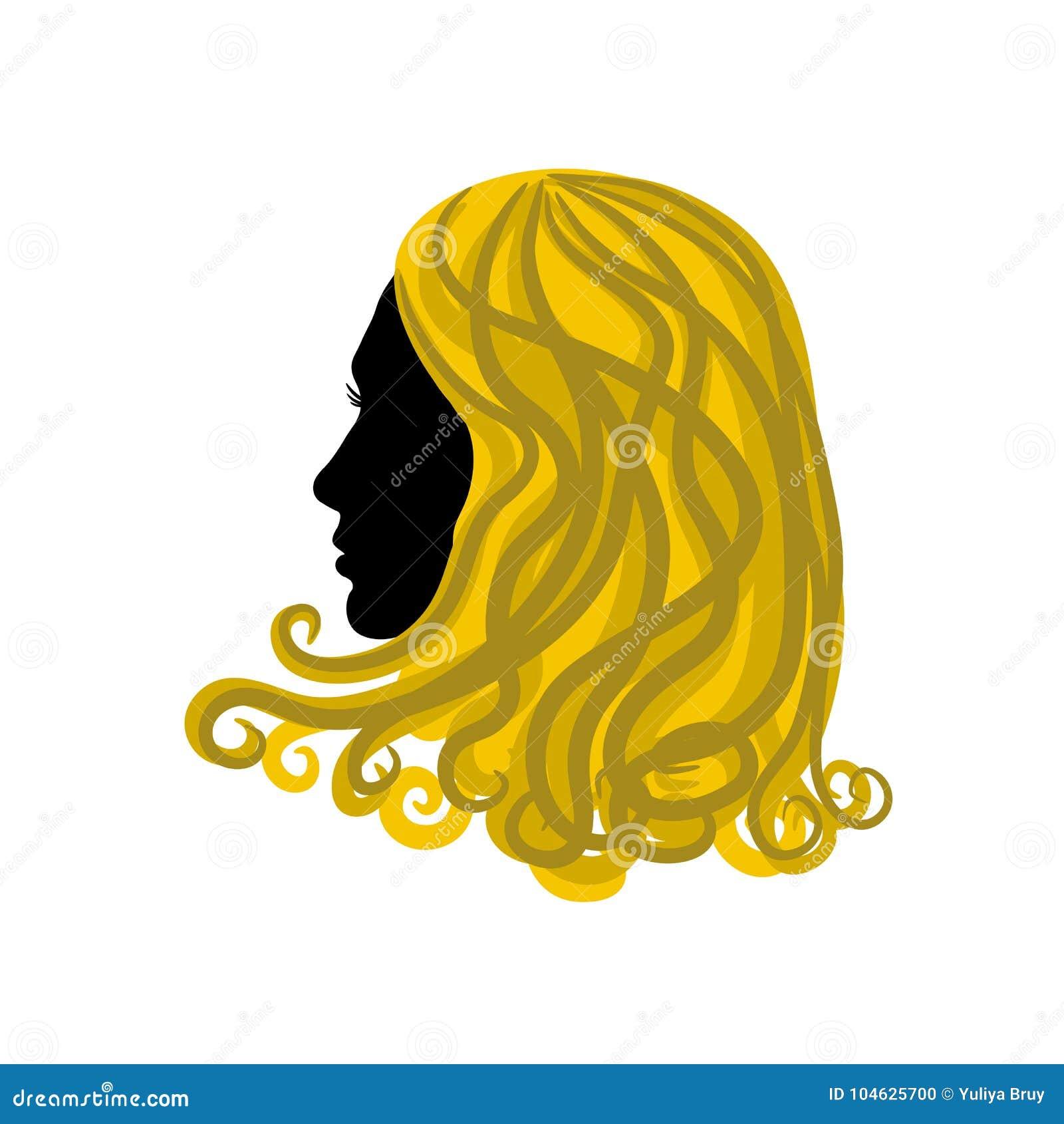 Download Silhouet Van Het Meisje Met Gouden Haar Op Witte Achtergrond, Vector Vector Illustratie - Illustratie bestaande uit wijfje, profiel: 104625700