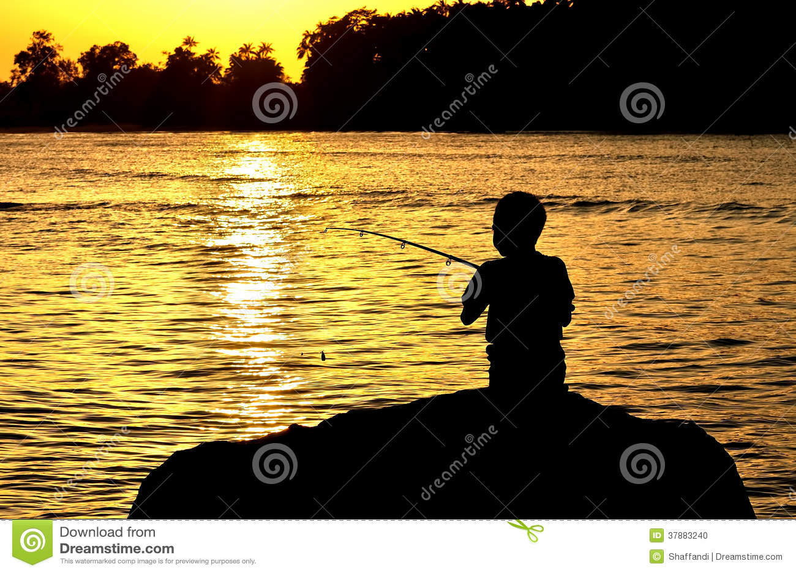 Silhouet van jong geitje visserij