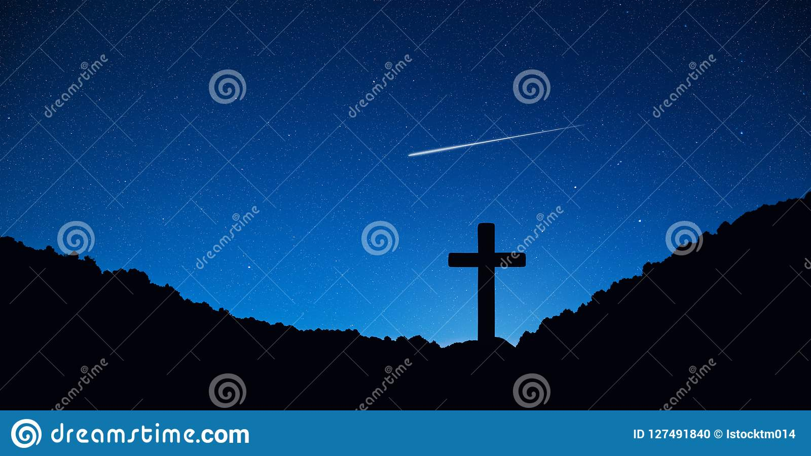 Silhouet van kruisbeeldkruis op berg bij nacht met ster en ruimteachtergrond