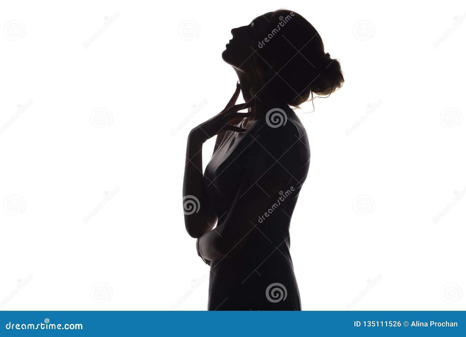 Silhouet van mooi meisje, het profiel van het vrouwengezicht op wit geïsoleerde achtergrond, concept schoonheid en manier