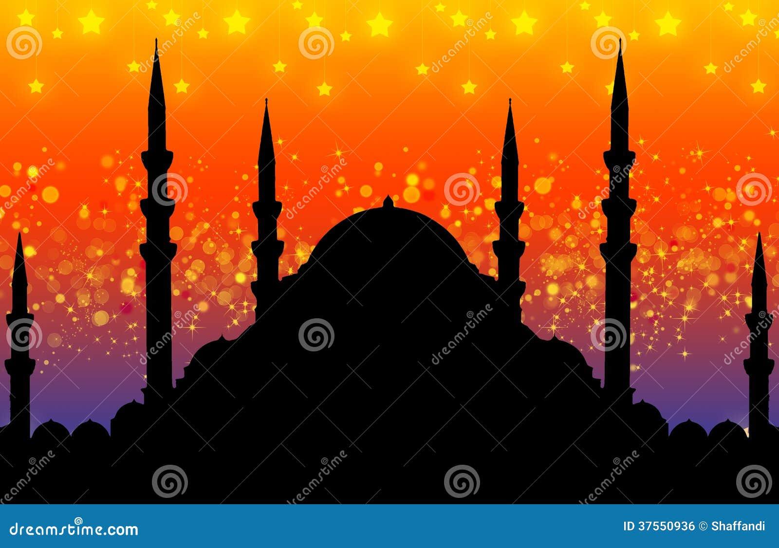 Silhouet van moskee