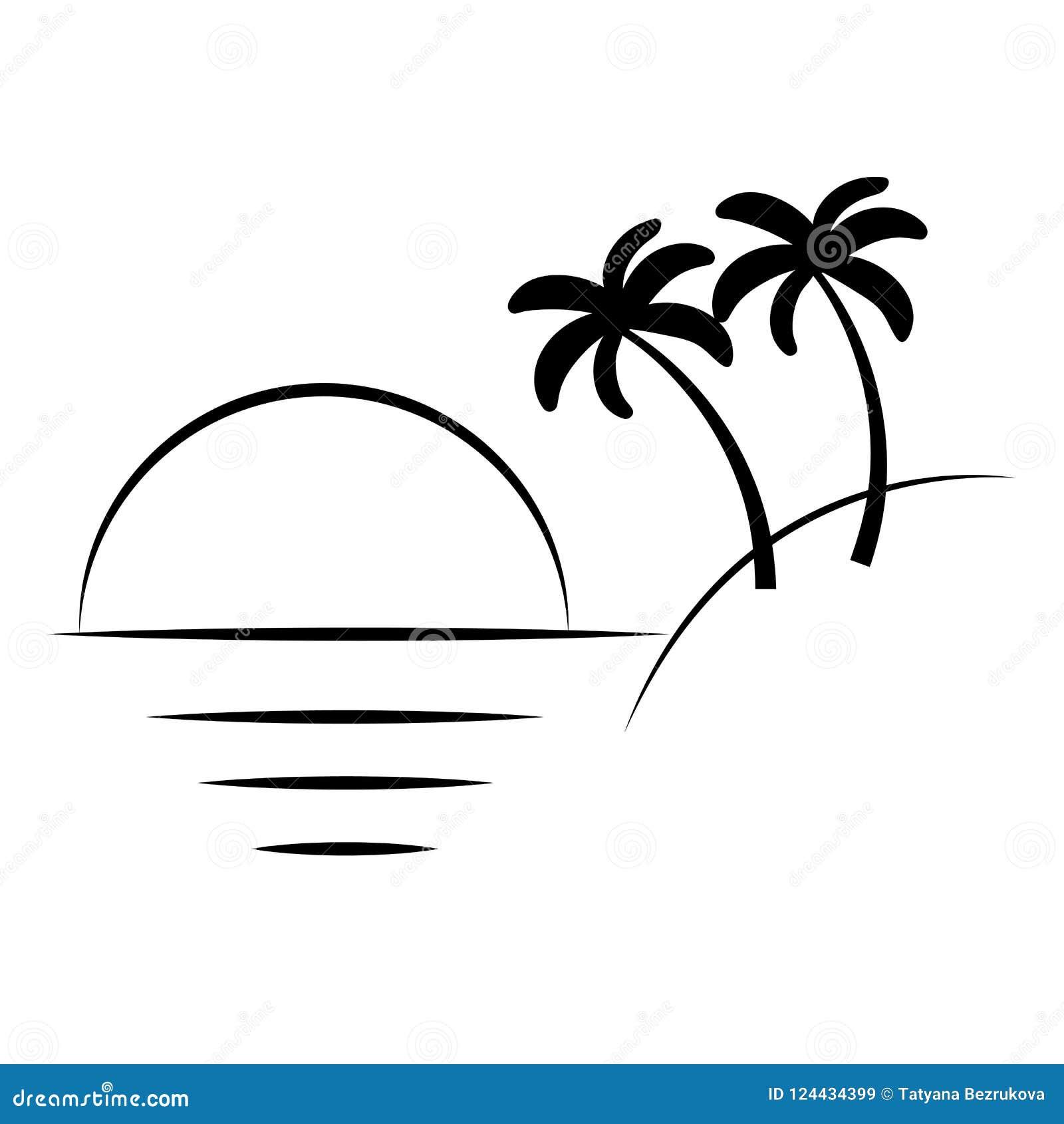 Silhouet van palmen op het eiland Vectorillustratieisol