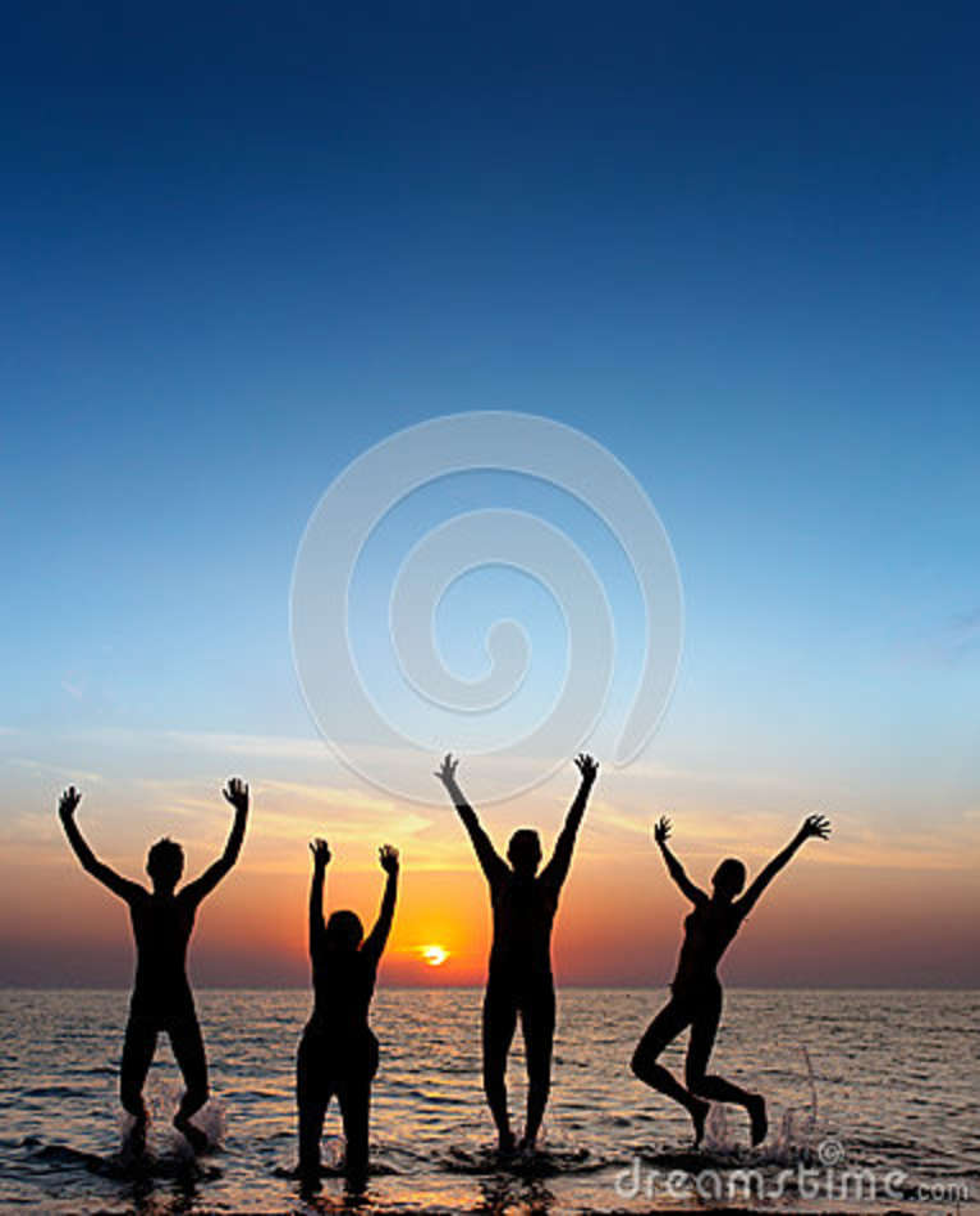 Silhouet van springende mensen