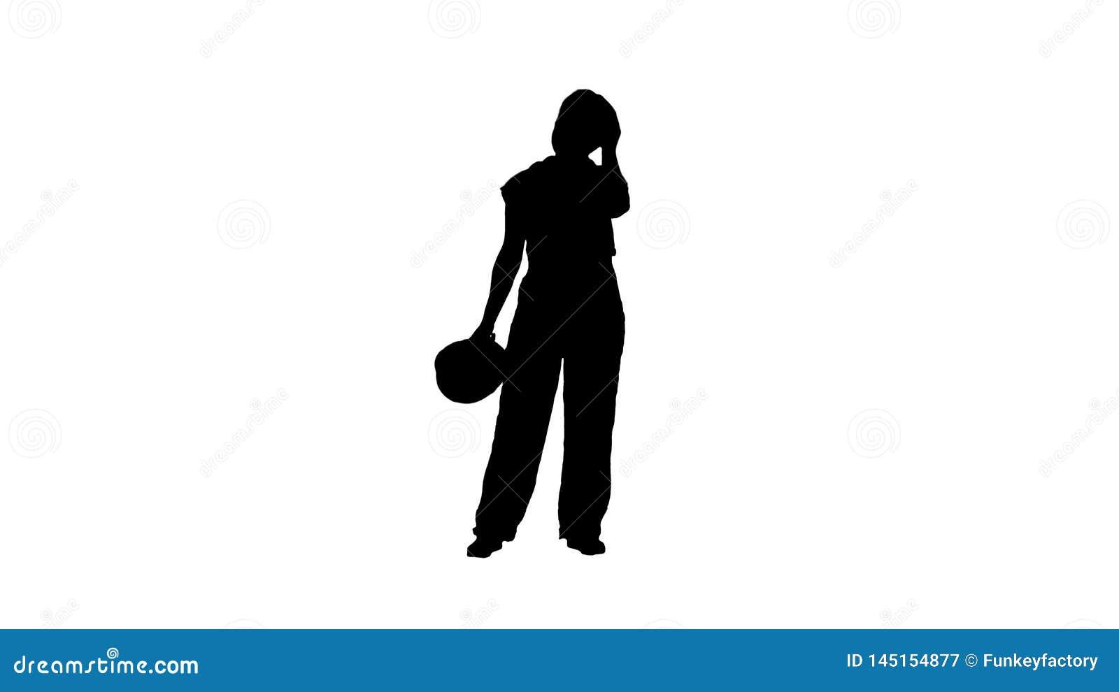 Silhouet Vermoeide vrouw in bouwkleren na harde werkdag