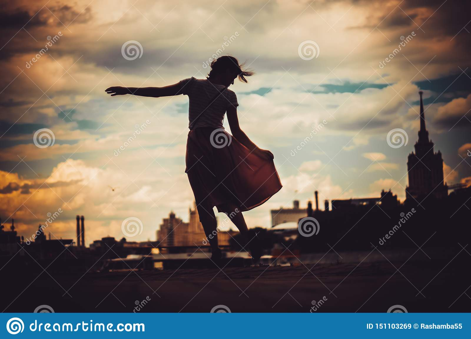 Silhouete of girl in dress standing on the background of skyline