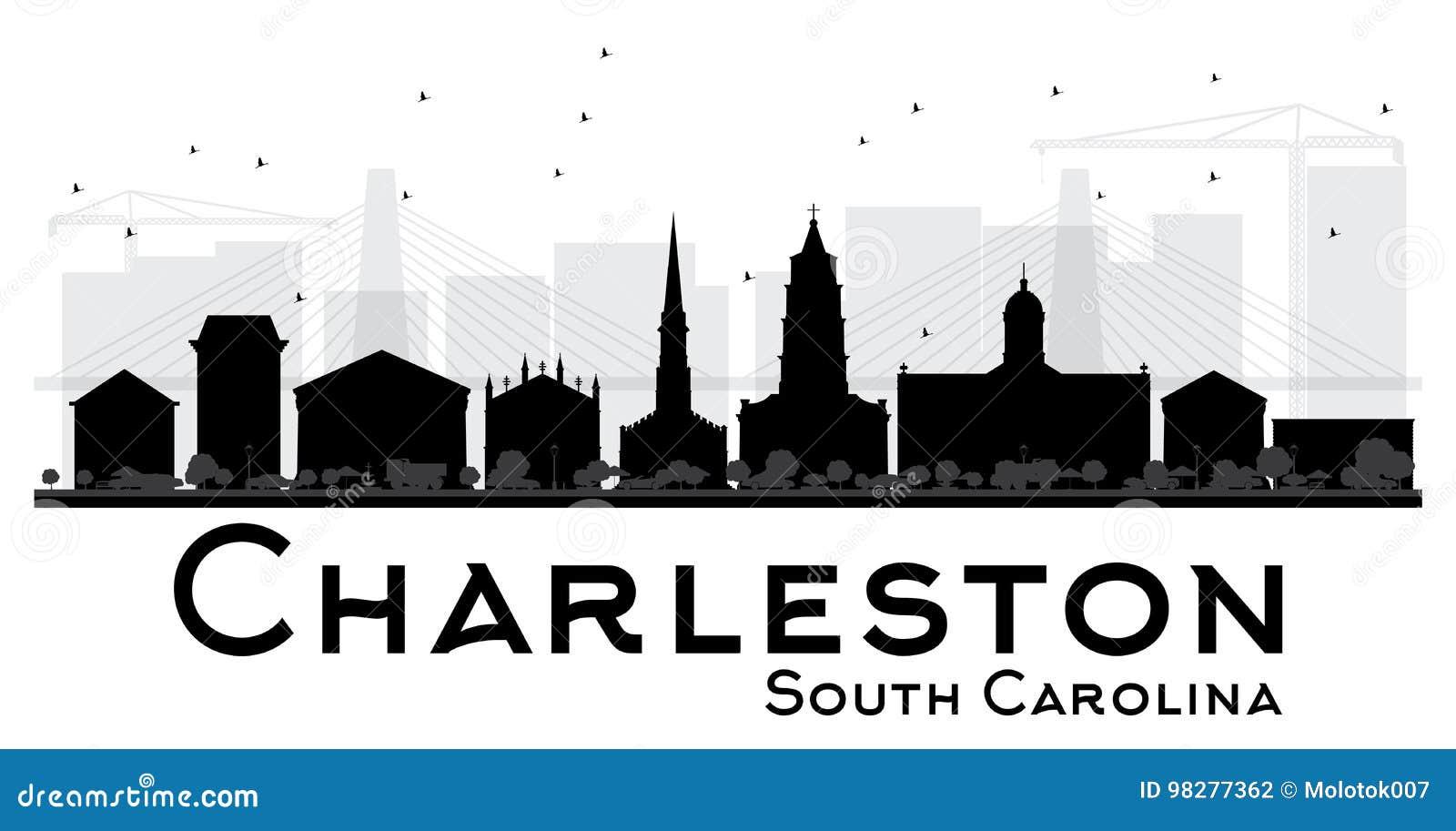 Silhouett preto e branco da skyline de Charleston South Carolina City
