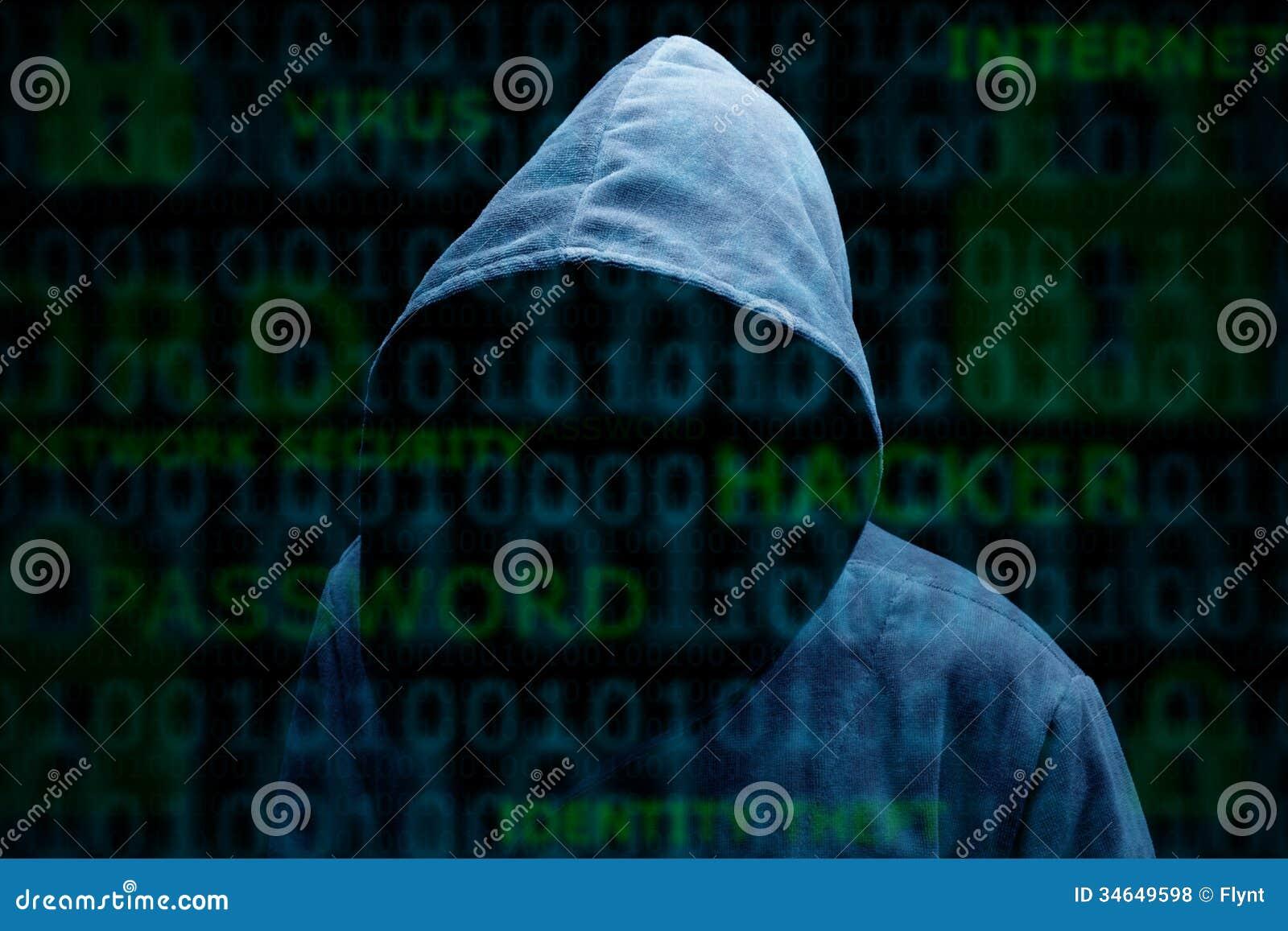 Silhouette à capuchon d un pirate informatique