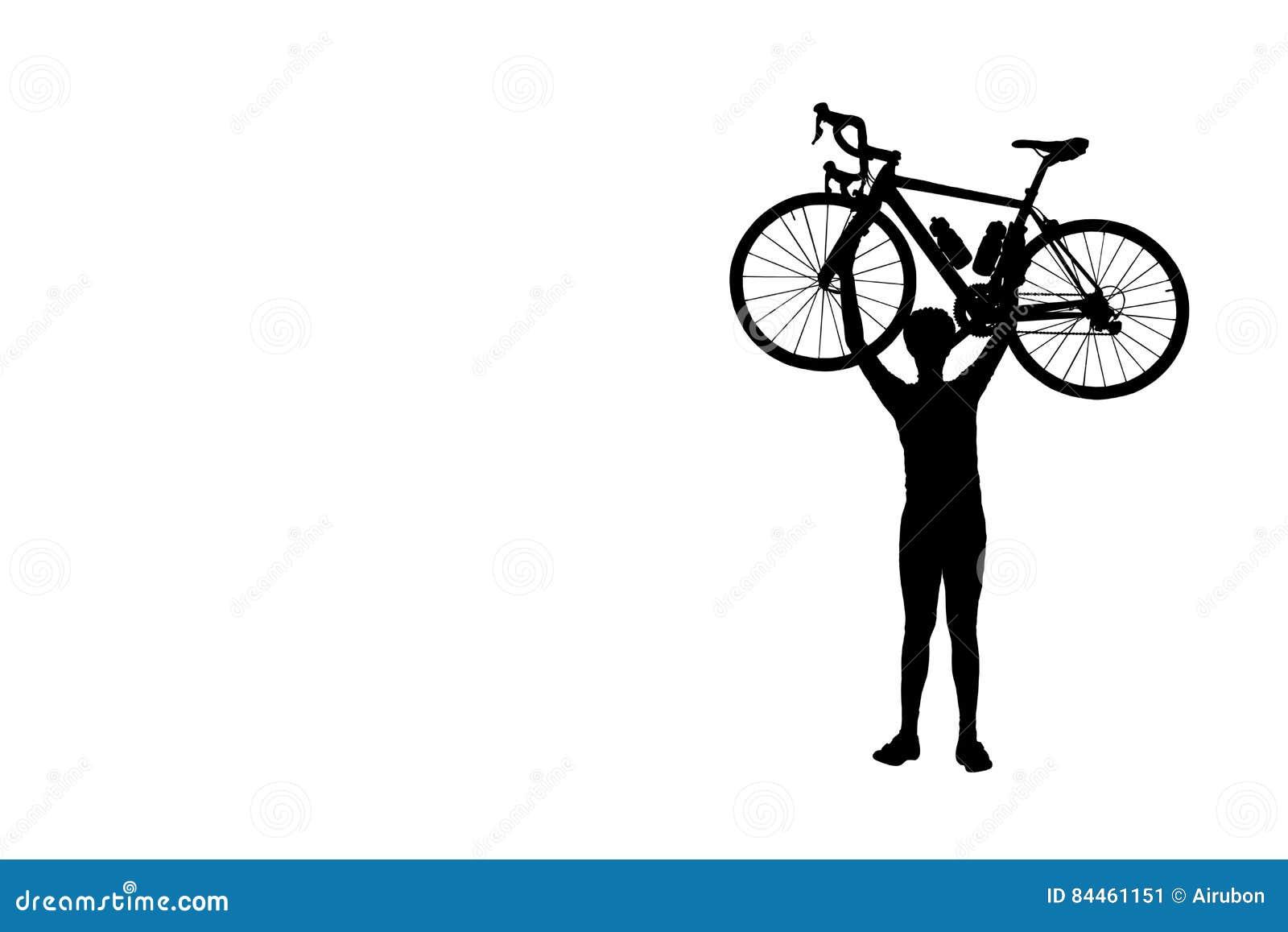 Silhouette велосипед человека поднимаясь над его головным изолятом на белой предпосылке