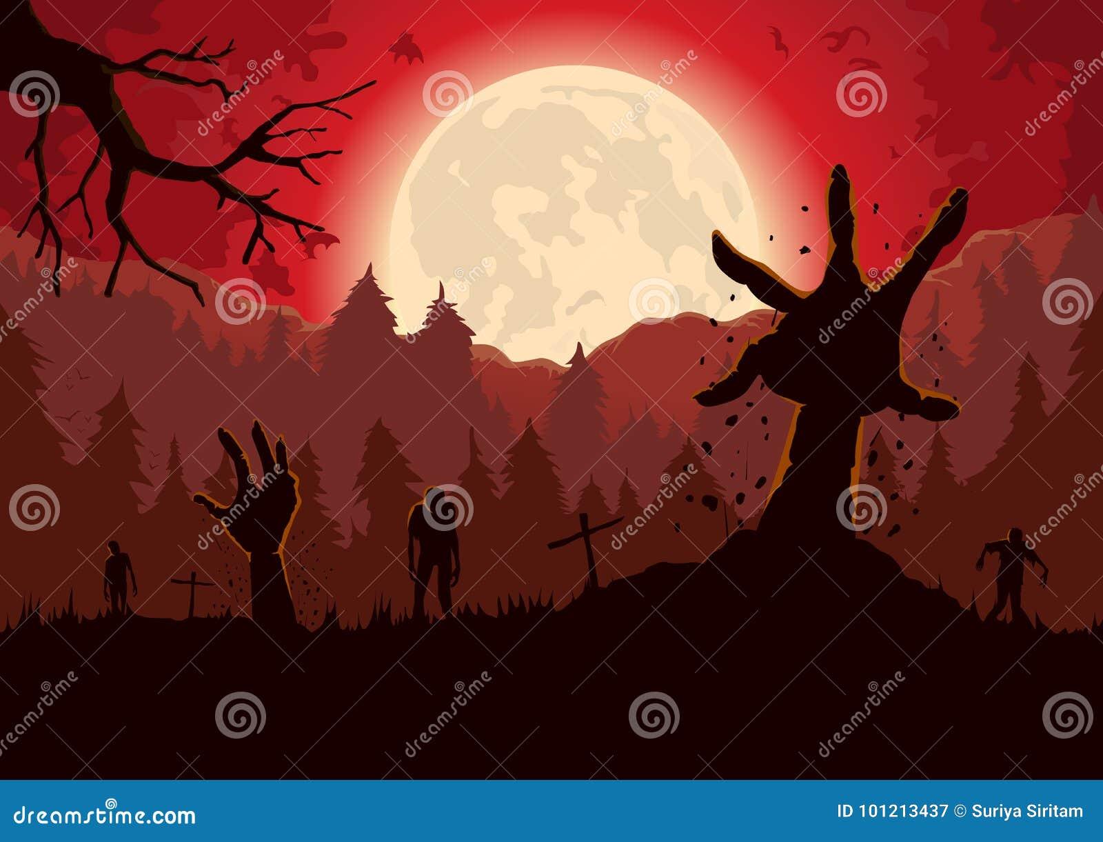 Silhouette рука зомби вне от земли могилы в ноче полнолуния