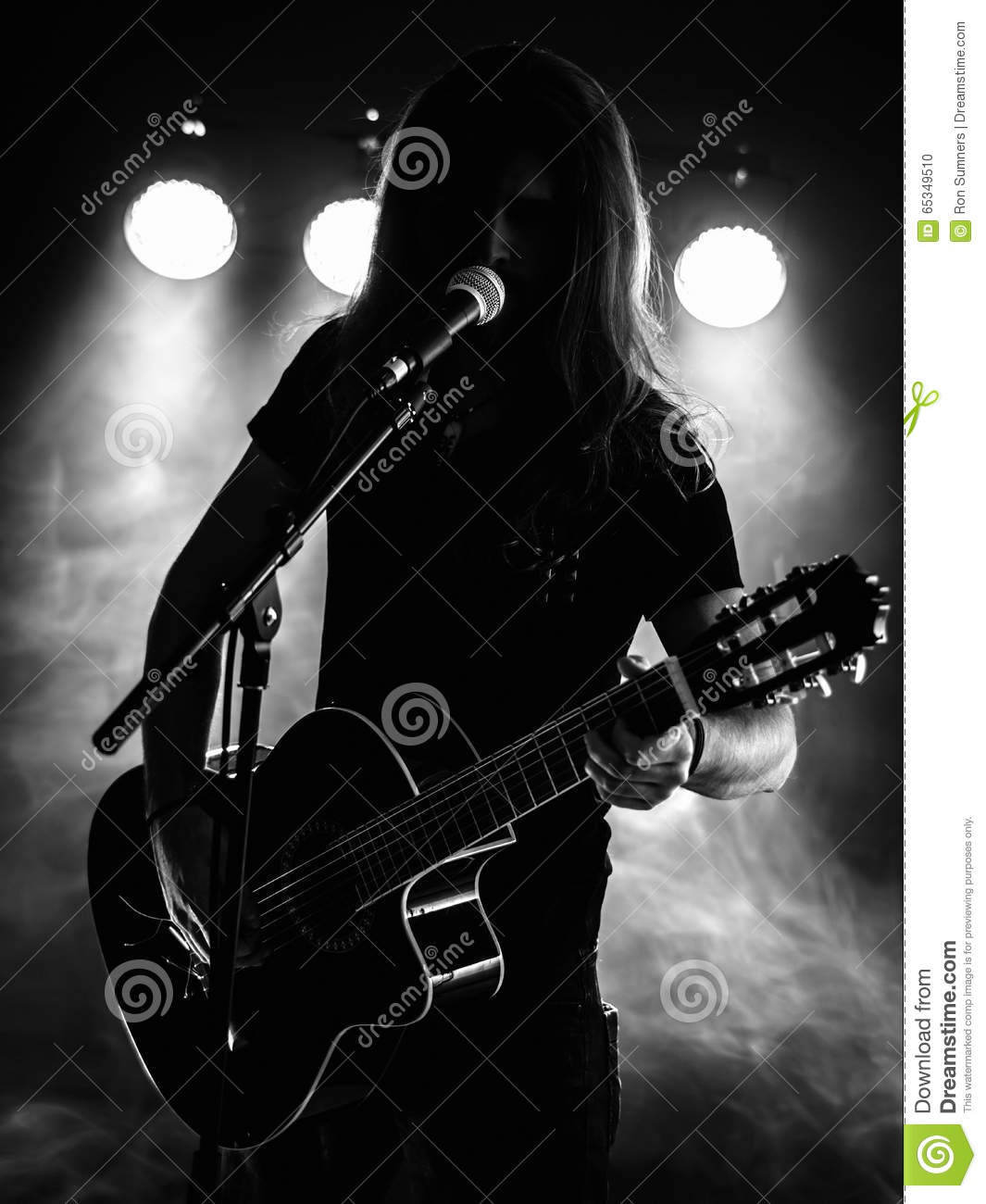 Silhouette Acoustic Guitar Player On Stage Stock Photo ...