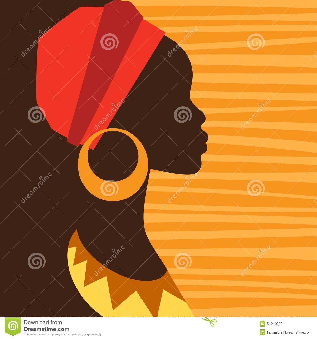 Silhouette Of African Girl In Profile With Stock Vector ...