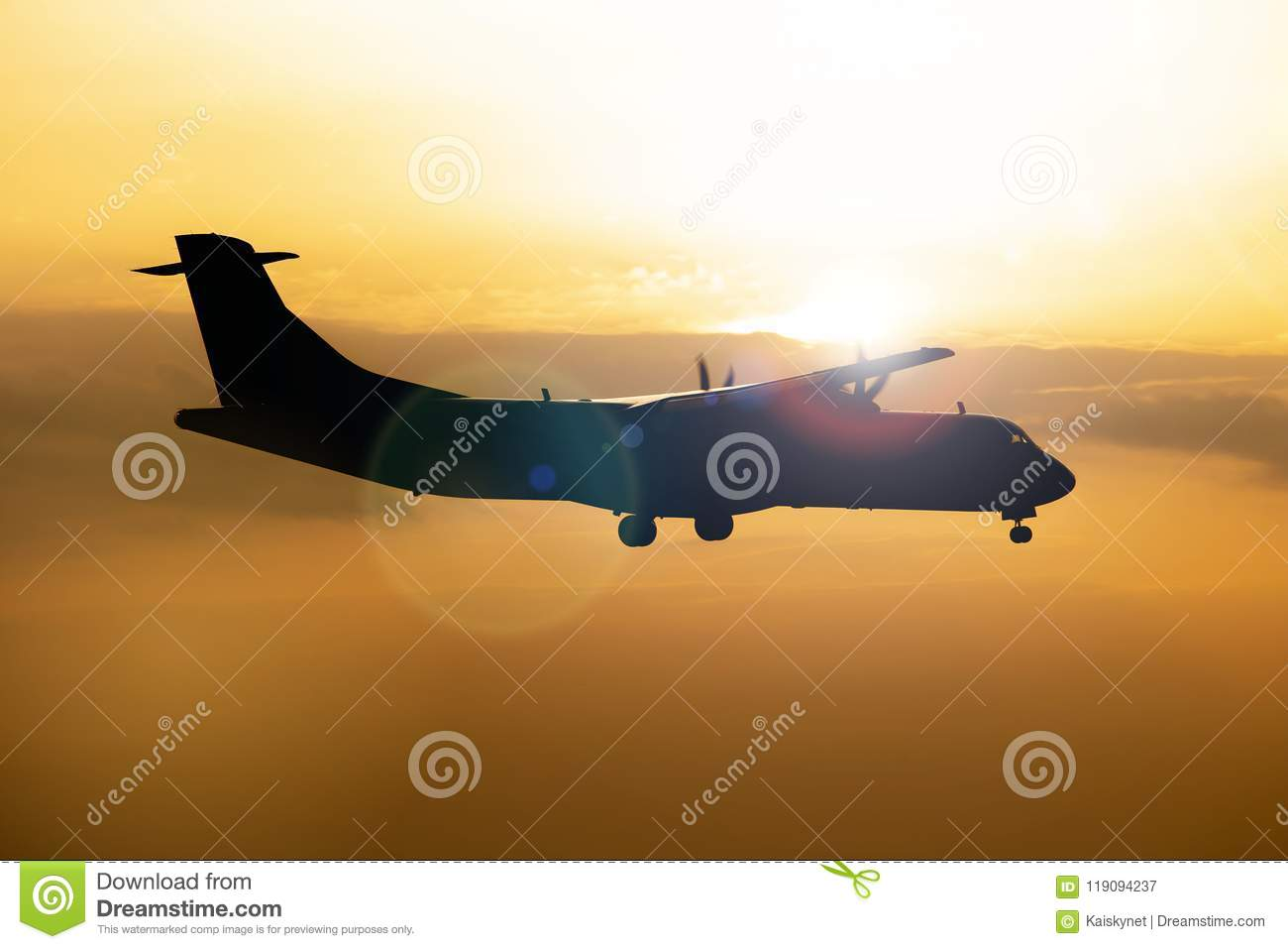Silhouette of airplane on Colorful dramatic sky at Sunset
