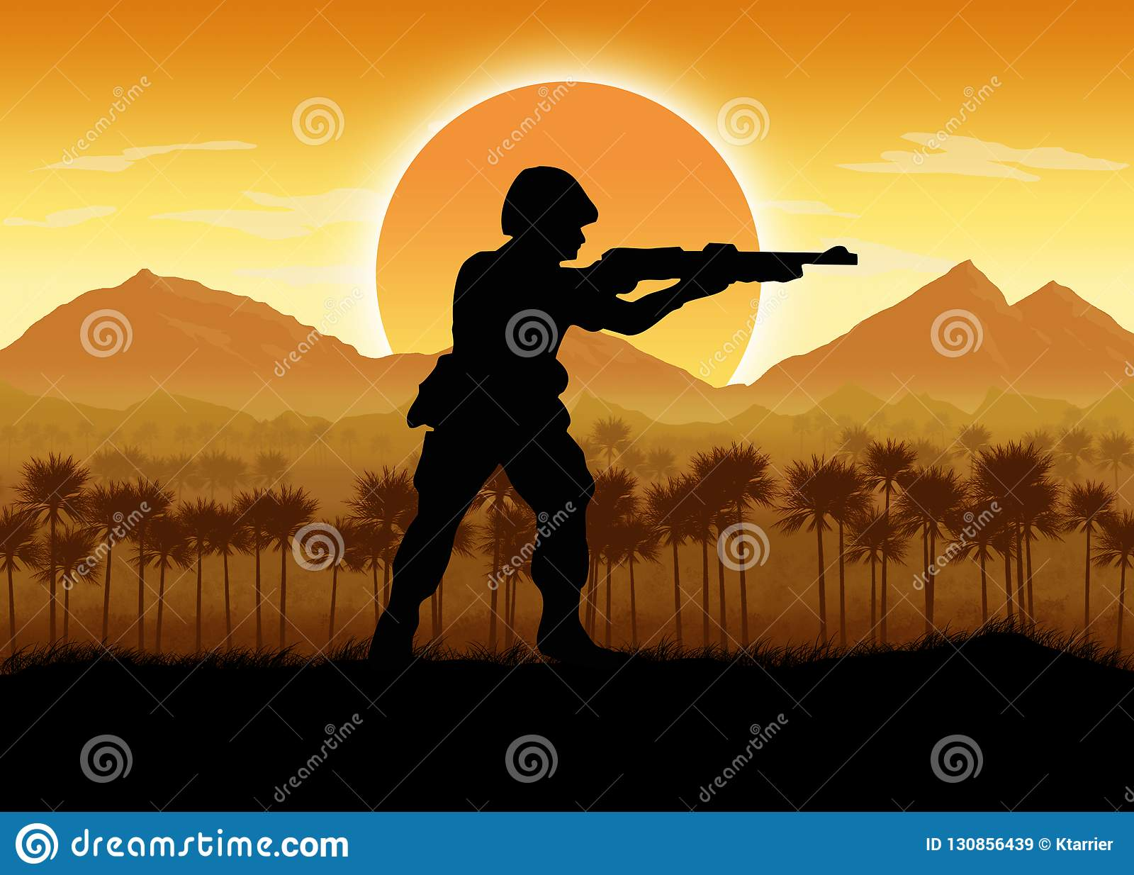 American Dream Circa 1960 >> Military Forces In A Jungle Situation Stock Illustration