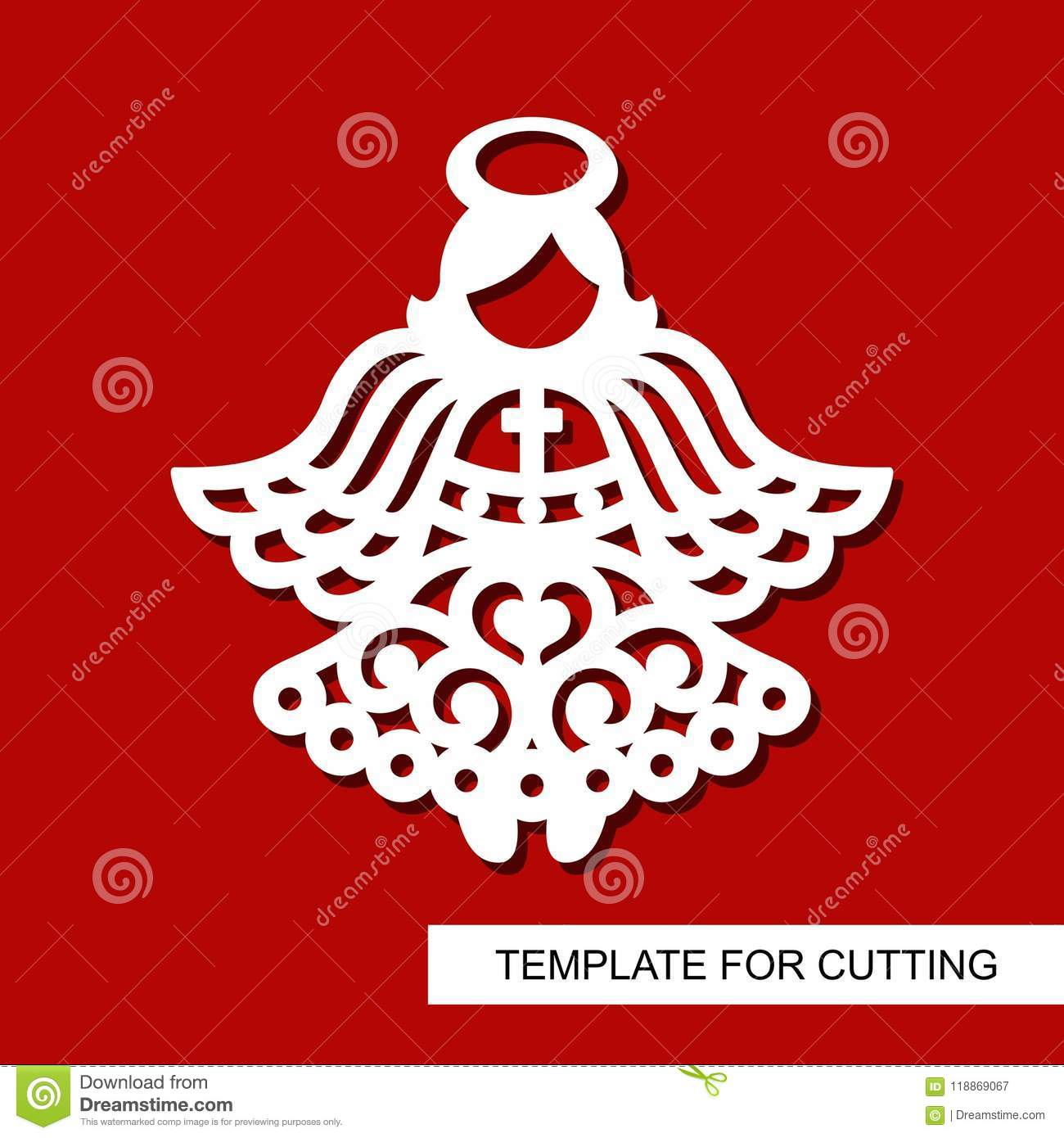 Silhouette Angel Decor For Xmas Holiday Stock Vector