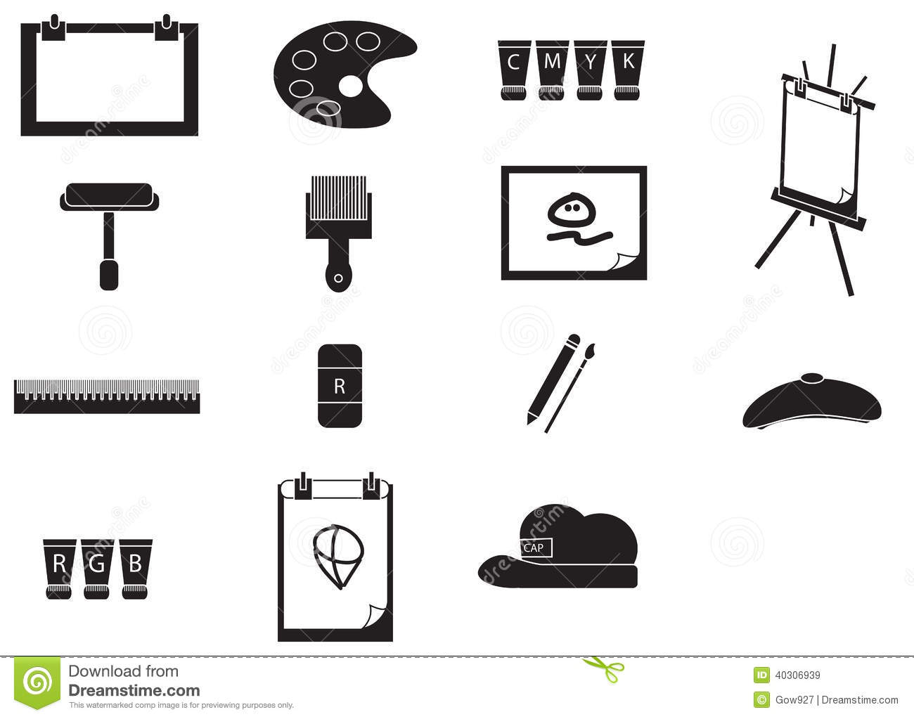 Silhouette Artist Painting Tools Icon Set Vector Stock