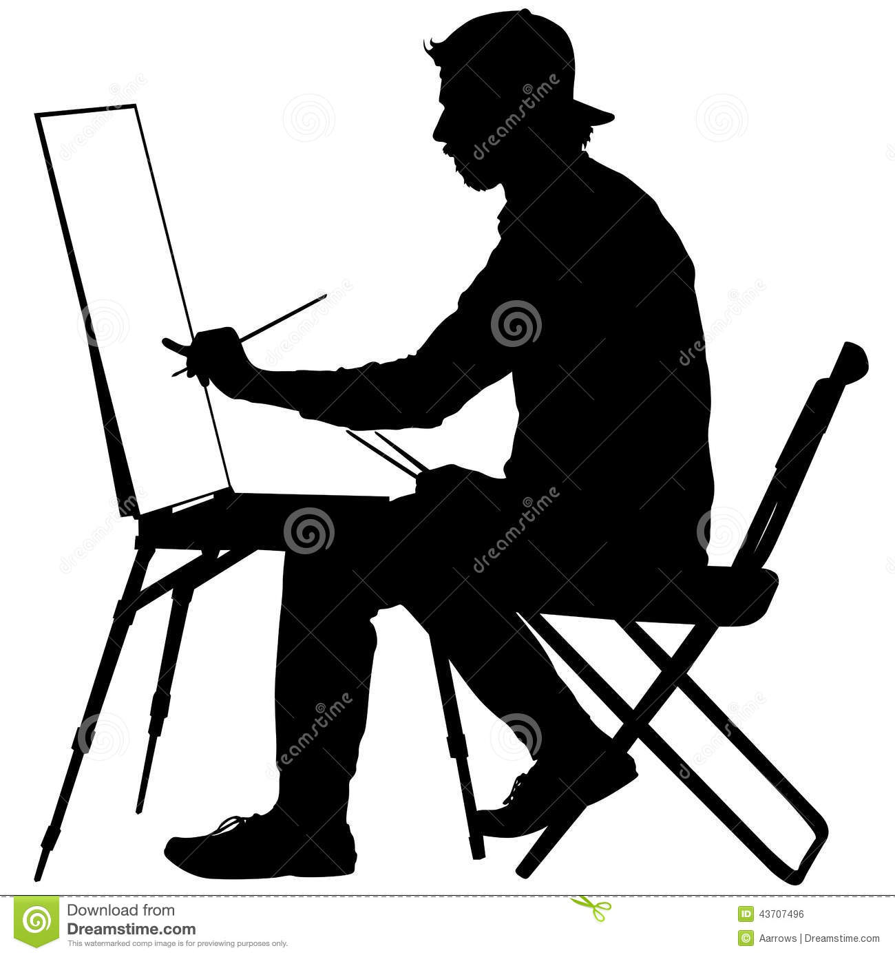 Silhouette, Artist At Work On A White Background, Stock Vector - Image ...