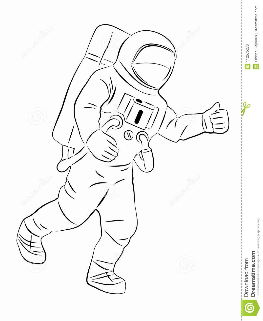 Silhouette Of Astronaut, Vector Drawing Stock Vector