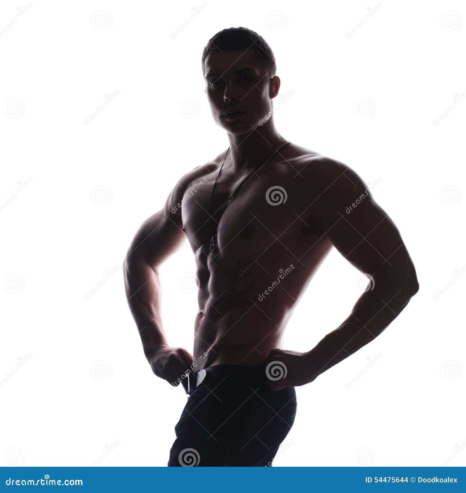 Silhouette Of Athlete Bodybuilder Man