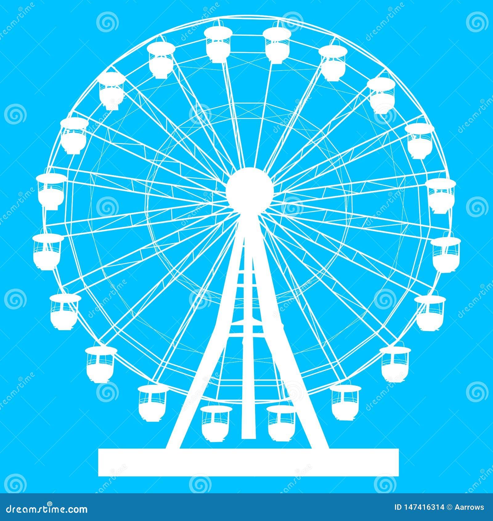 Silhouette atraktsion colorful ferris wheel on blue background illustration