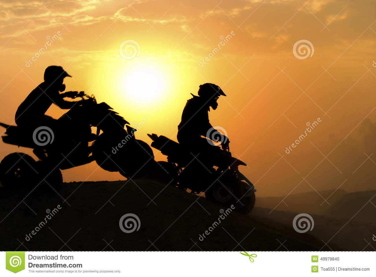 Silhouette Atv Or Quad Bikes Jump Stock Photo Image
