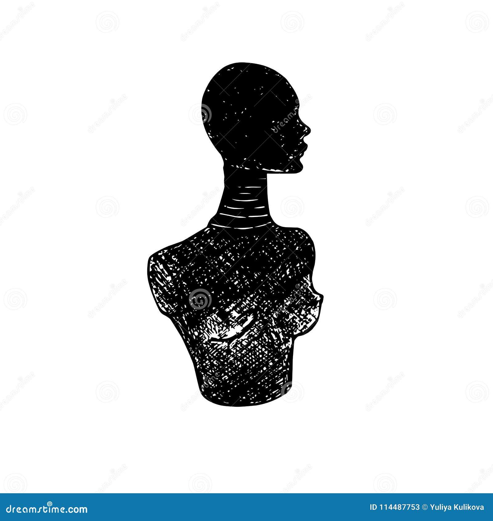 Silhouette av en kvinna Byst för kvinna` s