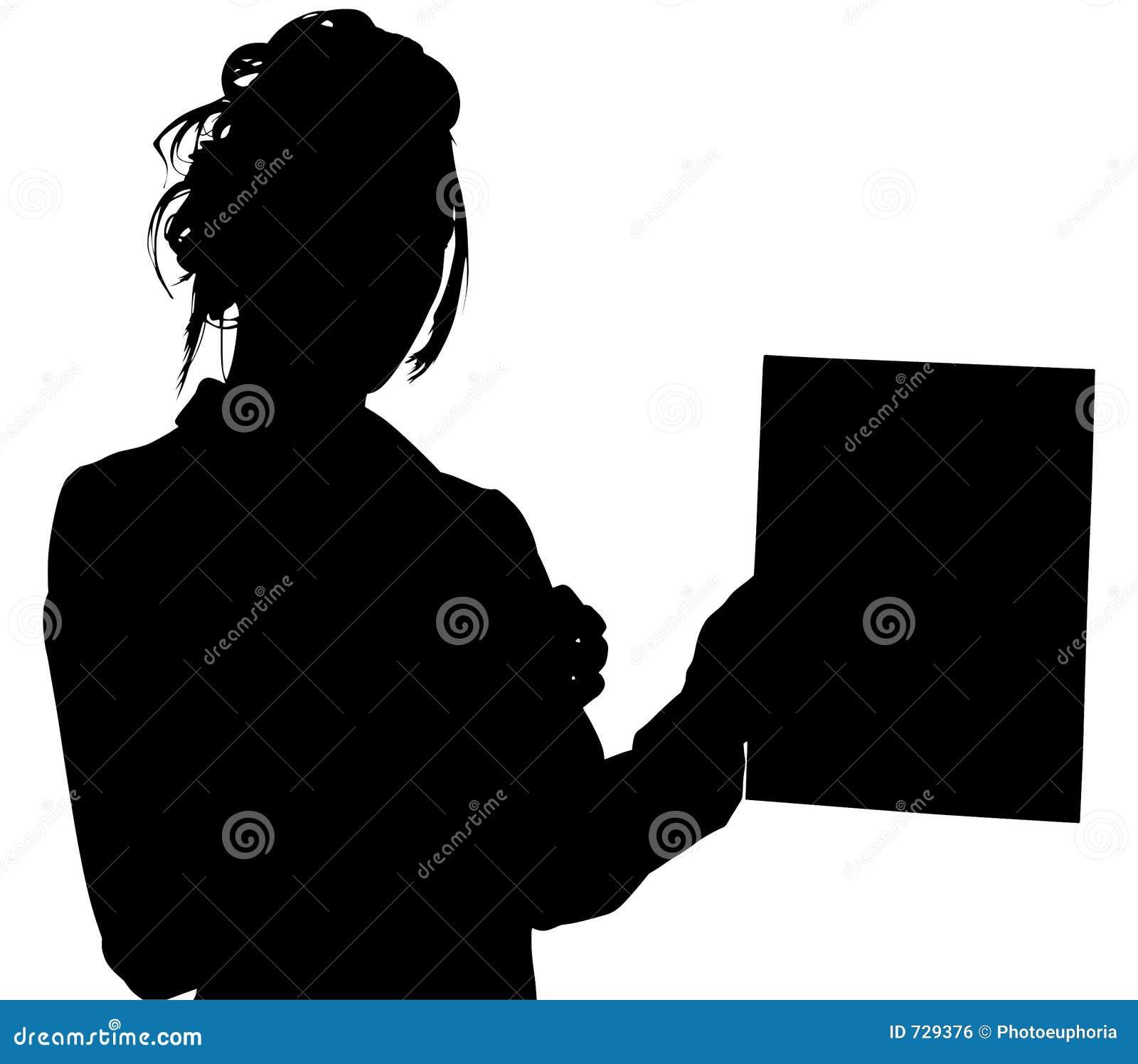 Silhouette avec le chemin de découpage de la femme donnant la tablette