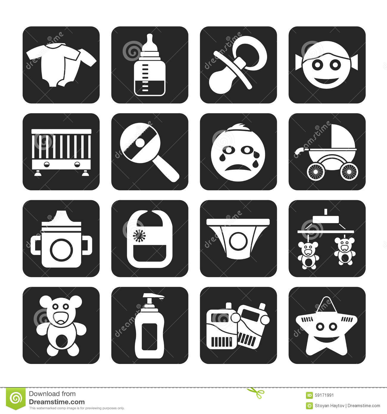 Silhouette Baby, Children And Toys Icons Stock Vector ...