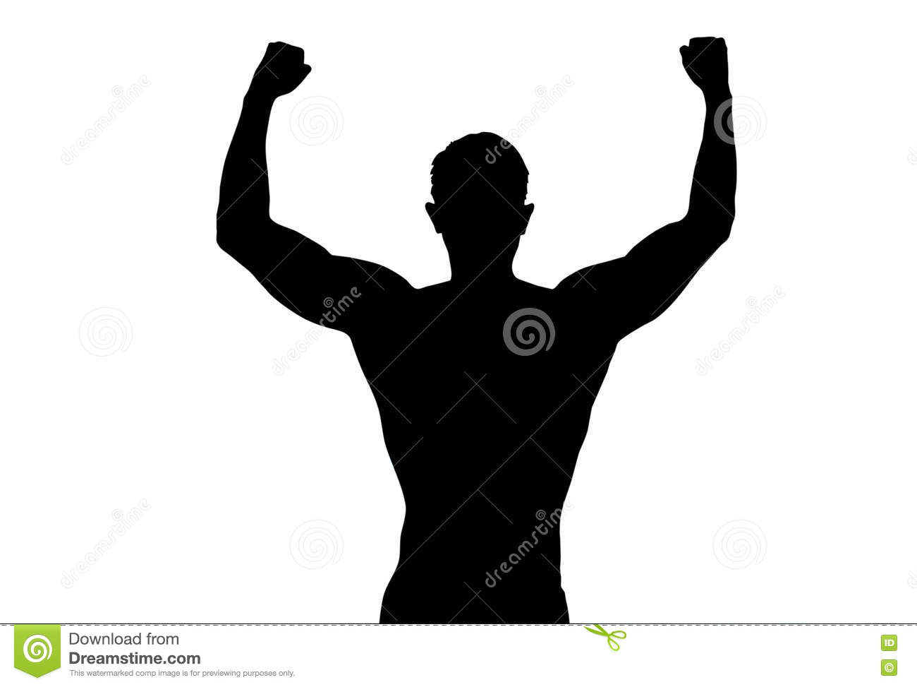 Silhouette back strong sport man outstretched arms show posing fitness body on white background
