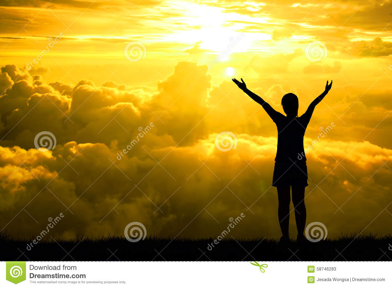 Silhouette or backlit of sport women open arms raised towards on hope sky at sunset light effect ,Concept for life achievements an