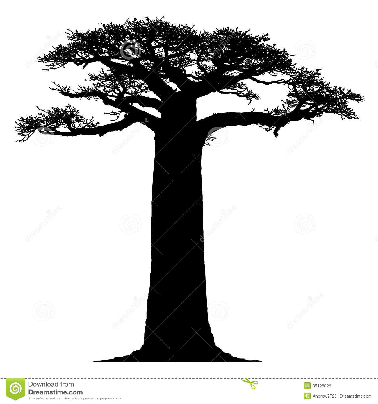 Silhouette Of A Baobab Tree Royalty Free Stock Image - Image: 35128826